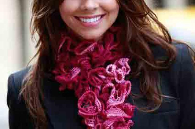Вязание шарфика из ленточной пряжи крючком (видео)