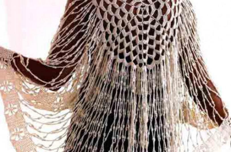 Оригинальная круглая шаль «Орхидея»