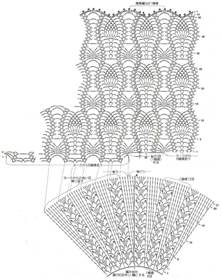 Схемы вязания крючком круглых кокеток 35