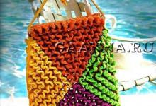 Пляжная сумка объемным вязанием