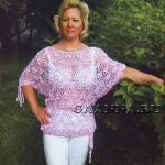 Розовый ажурный блузон