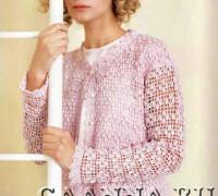 Розовый жакет на основе филейной сетки