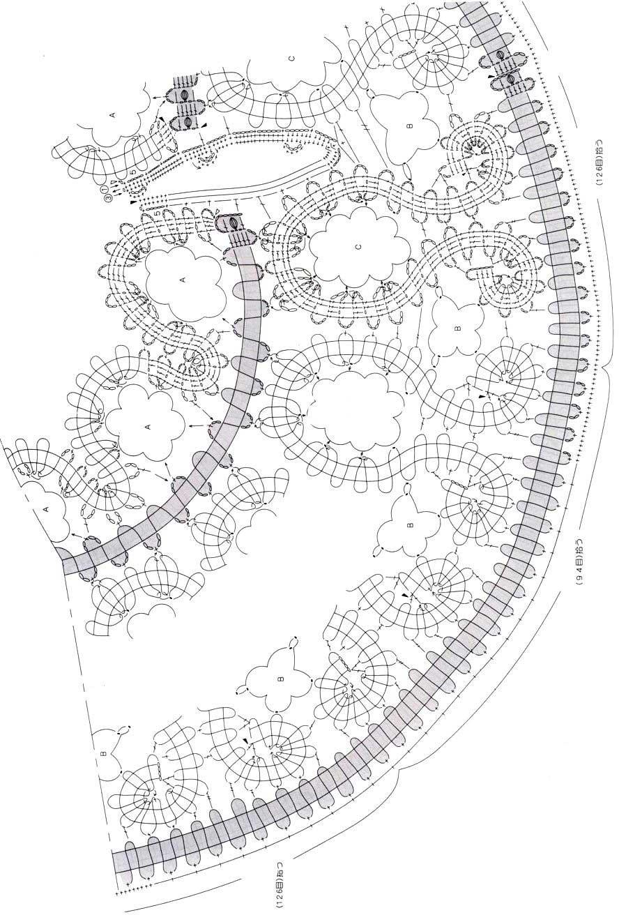 Схемы круглых кокеток крючком из японских журналов