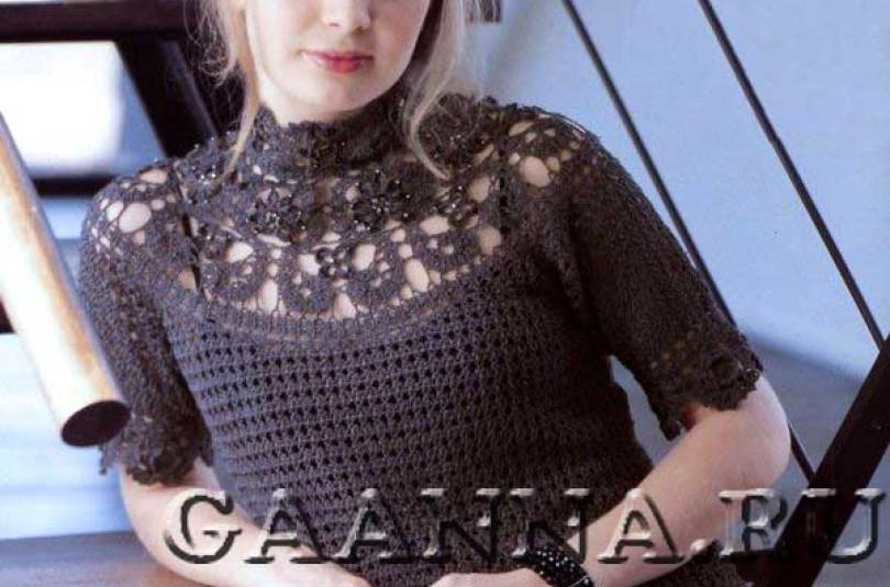 Блуза с кокеткой брюггским кружевом