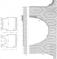 Филейный топ, связанный поперек