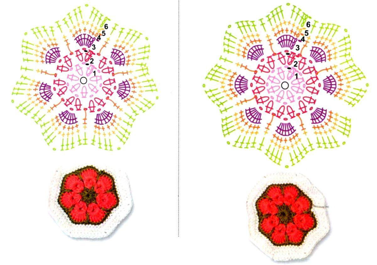 Африканский цветок квадрат крючком схема