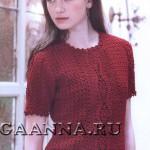 Красная блуза с фестонами