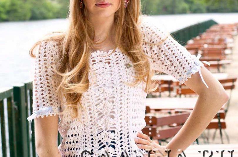 Белая блуза с прошвой