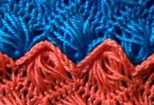 Вязание на вилке. Узор Зигзаг из веерочков