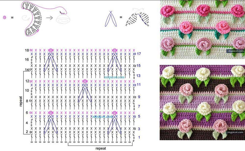 Вязание цветочные узоры крючком схемы 78