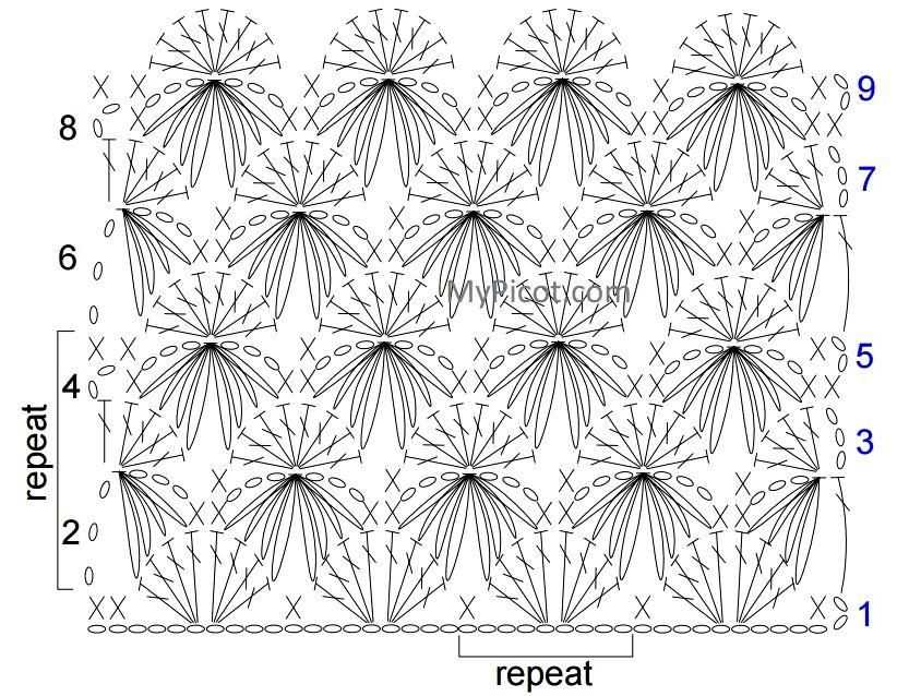 Вязание крючком объёмные узоры схемы 56