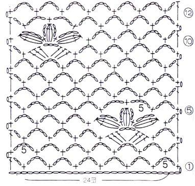 Ажурный узор Цветы на французской сетке