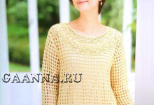 Ажурная блуза с круглой кокеткой
