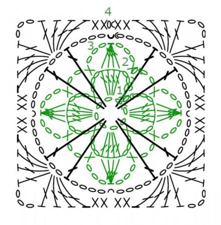 Квадратный мотив Четырехлистник