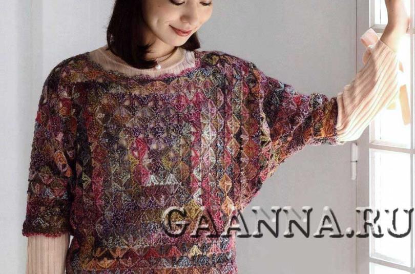 Пуловер на основе квадратных мотивов