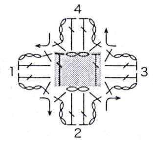 Узор Объемные цветы на филейной сетке