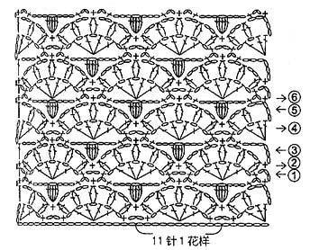 Ажурный узор с прямым и обратным попкорном