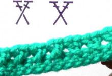 2 варианта вязания перекрещенных столбиков