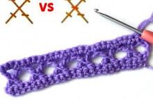 2 варианта вязания скрещенных столбиков