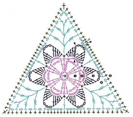 Треугольный мотив с цветком