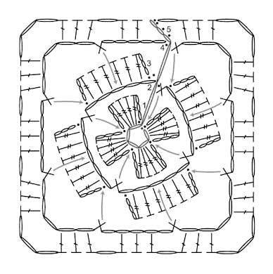Квадратный мотив с объемным цветочком
