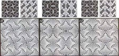 Спиральный квадратный мотив, 2 вариант