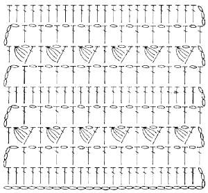 Узор Ажурные полоски с пышными столбиками