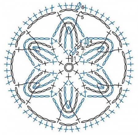 Разноцветный мотив с цветочком из цепочек