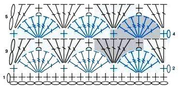 Объемный узор из веерочков